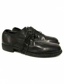 Mens shoes online: Guidi 992 black leather shoes