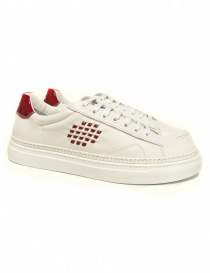 Sneakers Be Positive Anniversary colore bianco e rosso lucido MDV001-LEA-WHI-RED order online