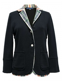 Hiromi Tsuyoshi navy suit with checkered details PS-02-JACKET-NAVY order online