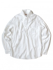 Mens shirts online: Kapital white asymmetrical shirt