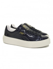 Womens shoes online: Puma Basket Platform Patent Peacoat sneaker