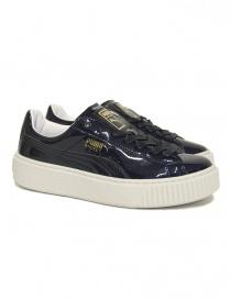 Sneaker Puma Basket Platform Patent blu lucido 363314-PEACOAT
