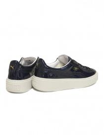 Sneaker Puma Basket Platform Patent blu lucido prezzo