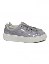Womens shoes online: Puma Basket Platform Patent halogen blue sneaker