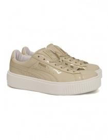 Sneaker Basket Platform Patent colore panna 363314-OATMETAL