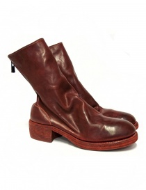Red leather Guidi 788Z ankle boots