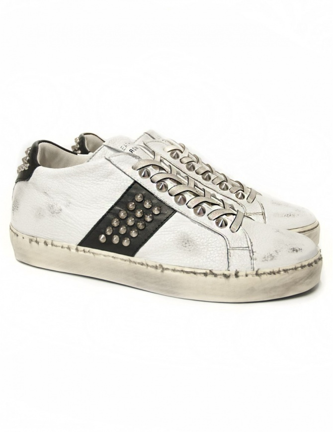 Leather Crown Iconic women's white/black sneakers WICONIC 16 BIANCO NERO womens shoes online shopping