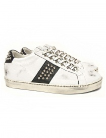 Mens shoes online: Leather Crown Iconic men's white/black sneakers