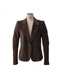 Womens suit jackets online: Kolor brown velvet pied de poule suit