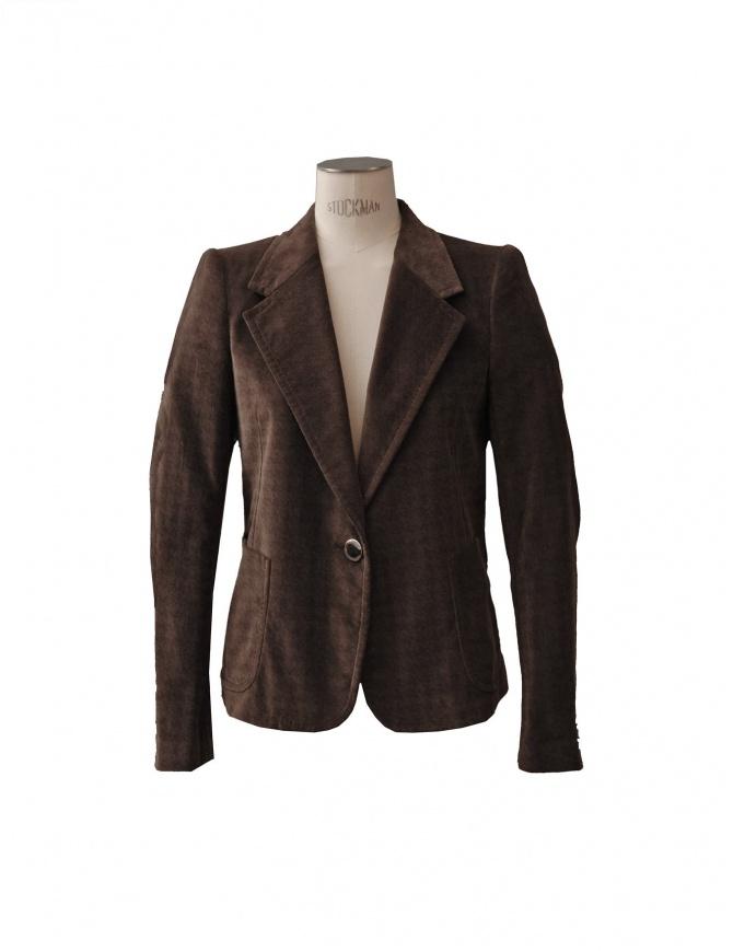 Giacca Kolor velluto pied de poule marrone J03114 A giacche donna online shopping