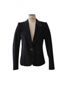 Womens suit jackets online: Kolor blue velvet pied de poule suit