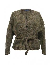 Womens knitwear online: Hiromi Tsuyoshi green wool cardigan