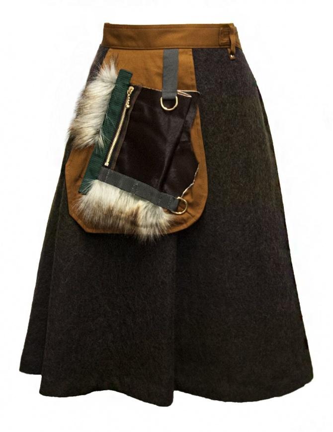 Kolor brown skirt 17WPL-S01106-A-KHAKI womens skirts online shopping