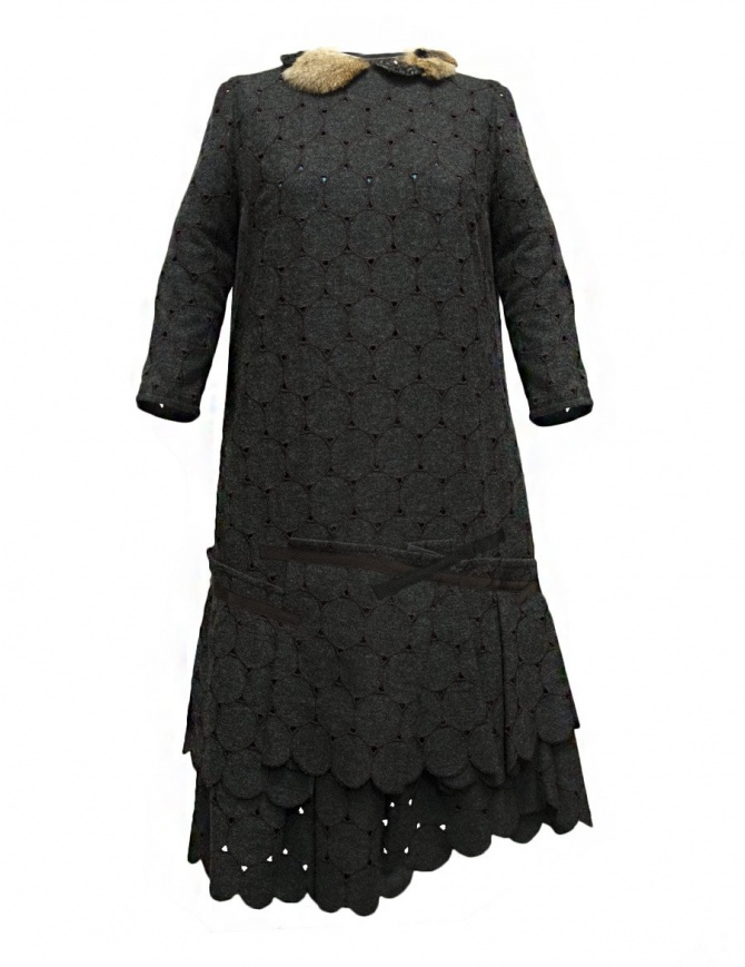 Kolor grey wool openwork dress 17WCL-O02145 GRAY womens dresses online shopping