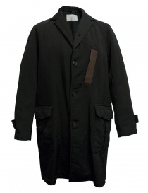 Mens coats online: Kolor black coat with brown pocket