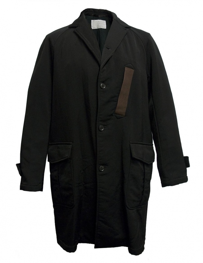 Kolor black coat with brown pocket 17WCM-C06108 D-BLACK mens coats online shopping