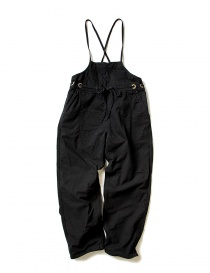 Womens trousers online: Kapital black cotton overalls