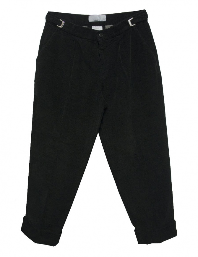 Cellar Door Leo T black velvet trousers LEOT-P110-99 mens trousers online shopping