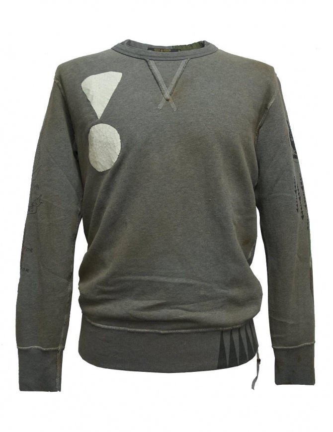 Rude Riders gray patched sweater P94170-53805-SWEATER mens knitwear online shopping