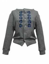 Womens knitwear online: Miyao embroidered gray cardigan