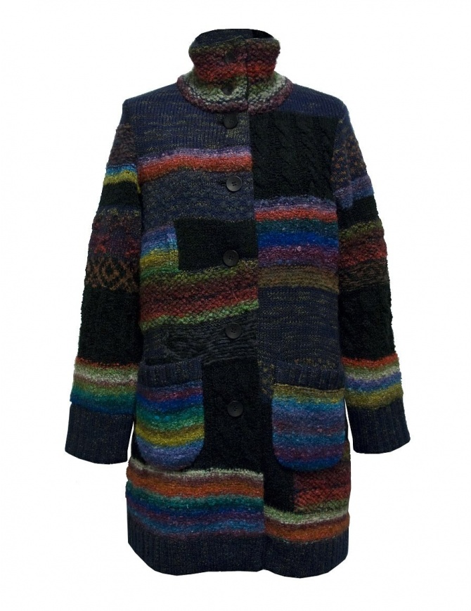 Fuga Fuga multicolor wool coat FAGA-131-51 womens coats online shopping