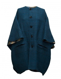 Womens coats online: Beautiful People checked peacock blue coat