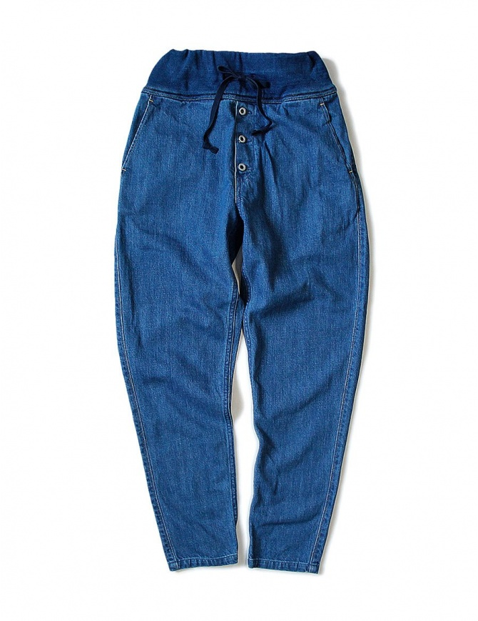 Kapital blue trousers with elastic band K1709LP801-NAVY-PANTS womens trousers online shopping