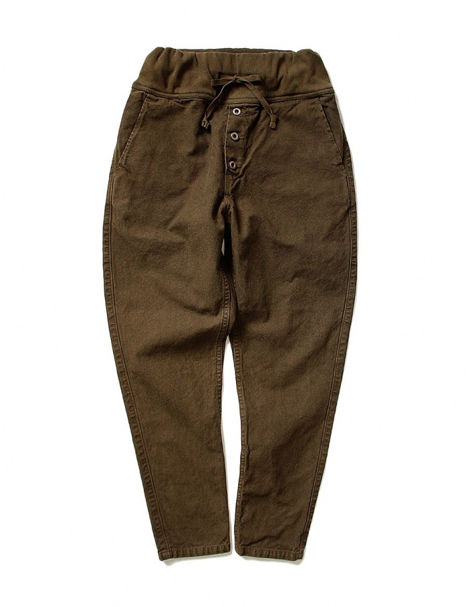 Kapital brown trousers with elastic band K1709LP800-BROWN-PANTS womens trousers online shopping