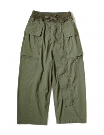 Mens trousers online: Kapital green cargo trousers with elastic band