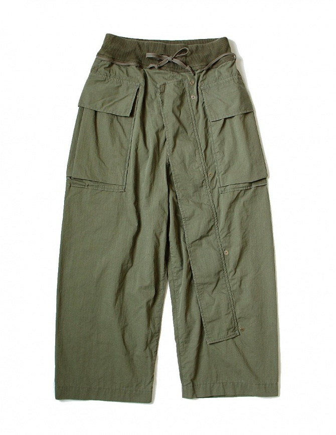 Kapital green cargo trousers with elastic band K1709LP082-KHAKI-PANTS mens trousers online shopping