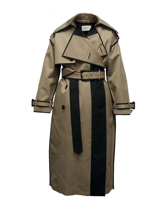 Beautiful People camel and black trench 1735103013-CML-BLK-C womens coats online shopping