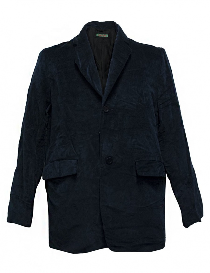 Single breasted velvet jacket with jewel button detail