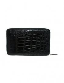 Tardini black satin alligator leather travel wallet price