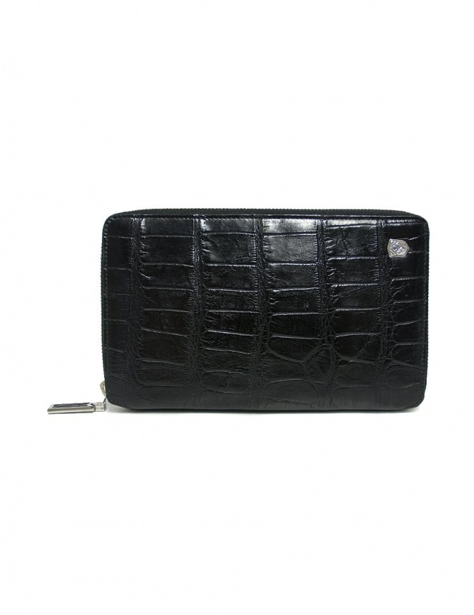Tardini black satin alligator leather travel wallet A6P253-25-01.P.DOCUM wallets online shopping