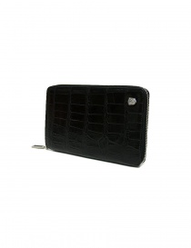 Tardini black satin alligator leather travel wallet buy online