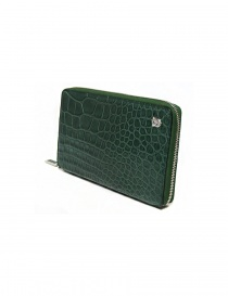 Tardini oil green satin alligator leather travel wallet buy online