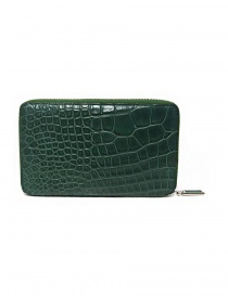 Tardini oil green satin alligator leather travel wallet price
