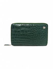 Tardini oil green satin alligator leather travel wallet A6P253-25-917-P-DOCU