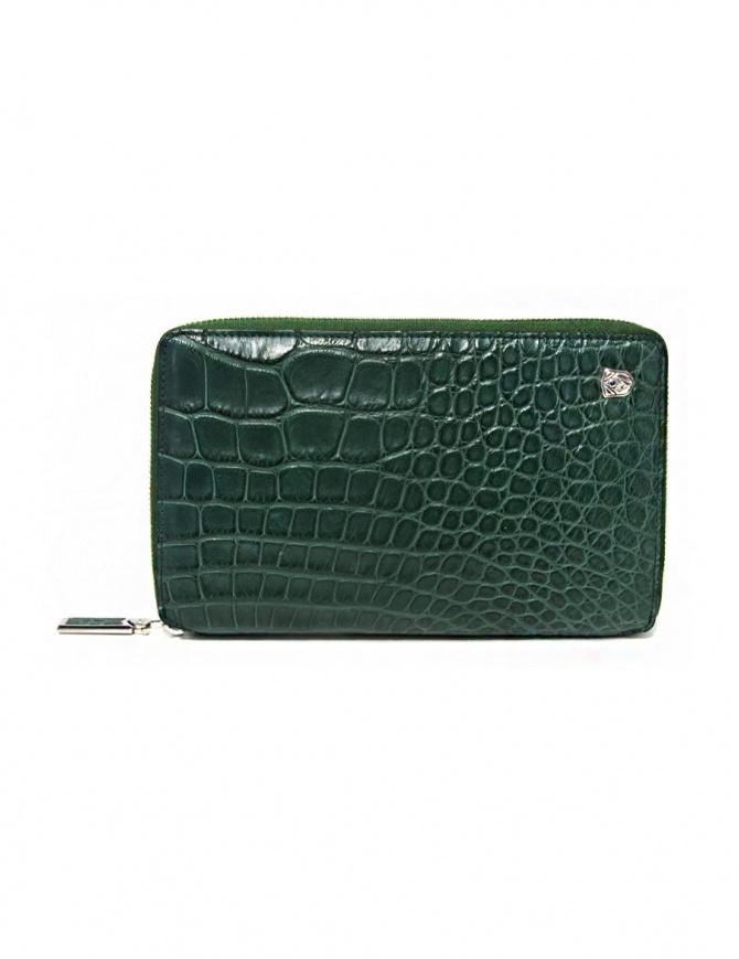 Portafoglio da viaggio Tardini in alligatore satinato colore verde olio A6P253-25-917-P-DOCU portafogli online shopping