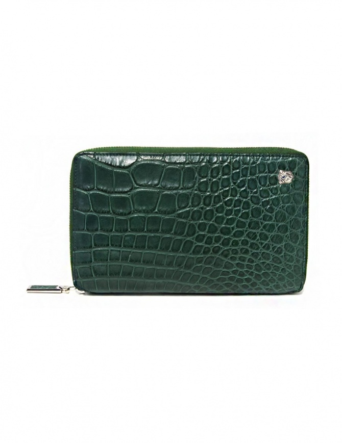 Tardini oil green satin alligator leather travel wallet A6P253-25-917-P-DOCU wallets online shopping