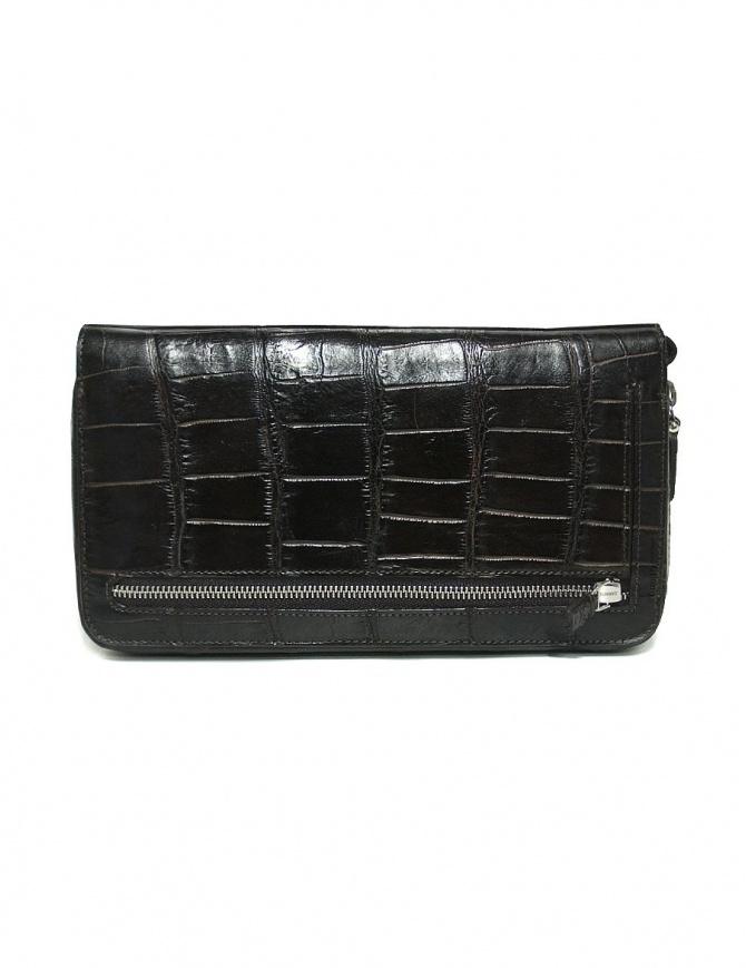 Borsello a mano Tardini in pelle di alligatore cerata colore marrone scuro A6T139-16-02-P-DOCUM borse online shopping