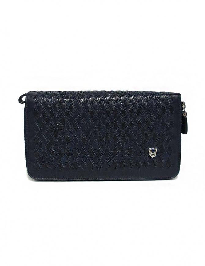 Portadocumenti Tardini in pelle di alligatore intrecciata colore blu A6T220-31-06EL-R-COC borse online shopping