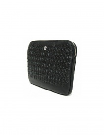 Tardini woven alligator leather black underarm bag buy online