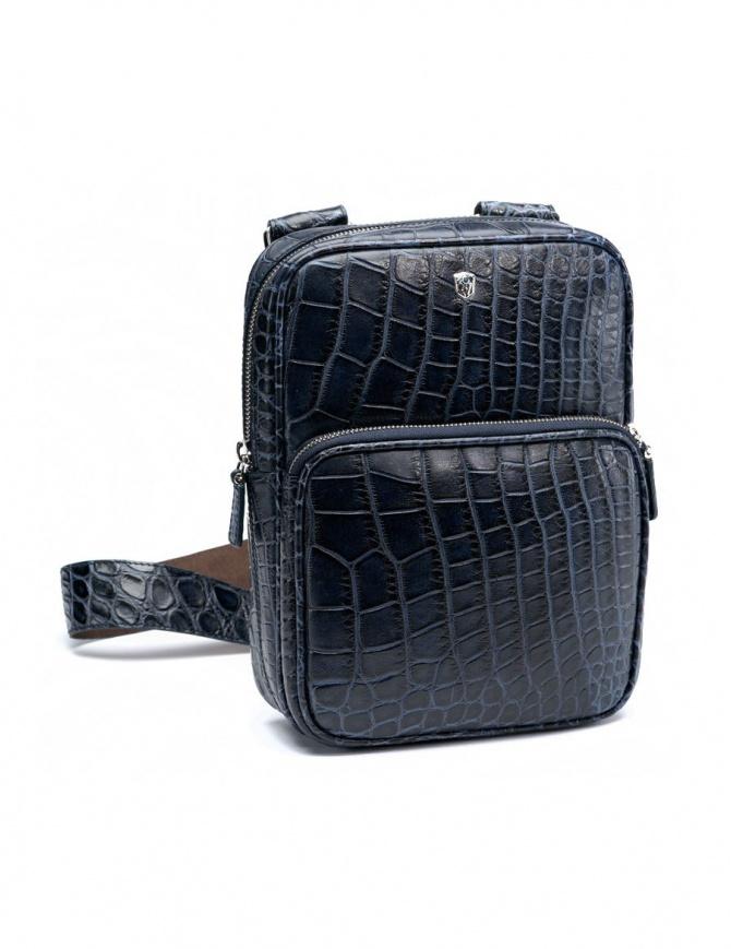 Borsello a tracolla Tardini in pelle di alligatore cerata colore blu baltico A6T273-16-256-BORSEL borse online shopping