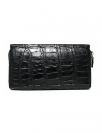 Tardini black waxed alligator leather travel wallet A6P112-16-01-P-DOCUM