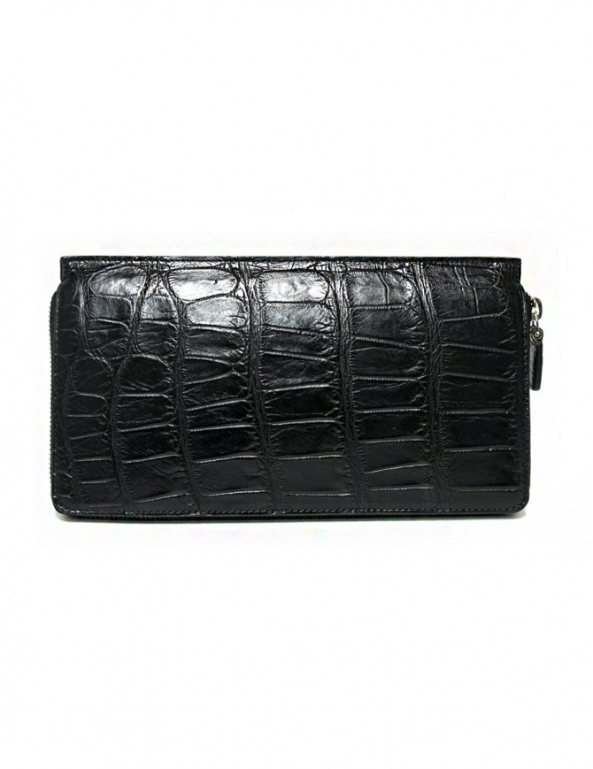 Tardini black waxed alligator leather travel wallet A6P112-16-01-P-DOCUM wallets online shopping