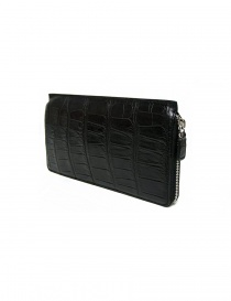 Tardini black waxed alligator leather travel wallet buy online