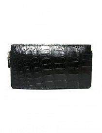Tardini black waxed alligator leather travel wallet price