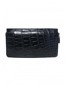 Tardini baltic blue waxed alligator leather travel wallet online