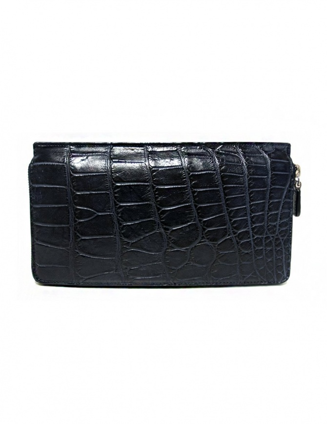 Tardini baltic blue waxed alligator leather travel wallet A6P112-16-256-P-DOCU wallets online shopping